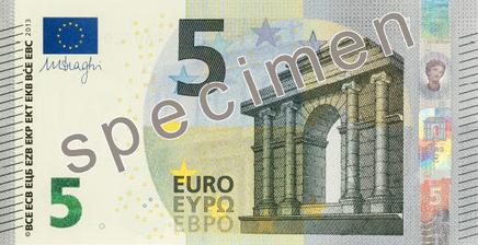 Jaunās 5 eiro banknotes